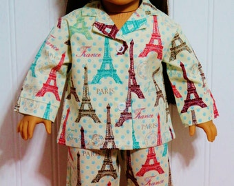 PARIS FRANCE EIFFEL Tower Cotton Pajamas fits 18inch Dolls - Proudly Made in America