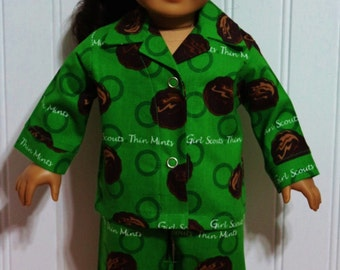 "Doll SCOUT Thin Mints Cotton Doll Pajamas Fit 18"" dolls - Proudly Made in America by mamastwinsees"