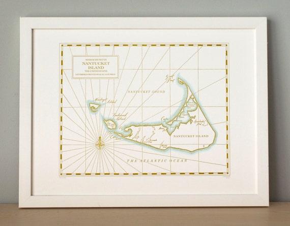Nantucket Island, Letterpress printed map (mustard)