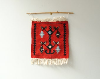 Vintage Weaving, Small Flat Weave Textile Wall Hanging from Mexico