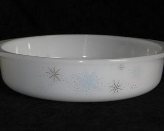 Vintage Glasbake Atomic Starburst Cake Pan ,  Round Milk Glass Baking Dish Stars