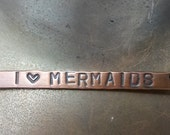I (heart) Mermaids Hand Stamped Bar Necklace