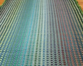 Cotton Rag Rug Runner in Blues and Greens  2' x 6' / Machine Washable Rag Rug