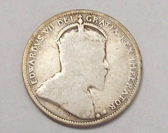 1910 Canada 25 Cents Coin Edwardian Sterling Silver Antique