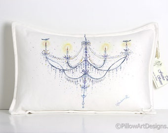 Cream Lumbar Pillow 12 X 18 Chandelier Hand Painted Original Made in Canada