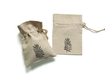 Linen gift bag, drawstring pouch, hand stenciled fern, bridal shower favor bag,  jewelry travel pouch, ecofriendly small bag