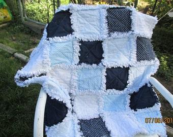Baby boy rag quilt,  shabby rag,  minky,  baby blue, rag baby quilt