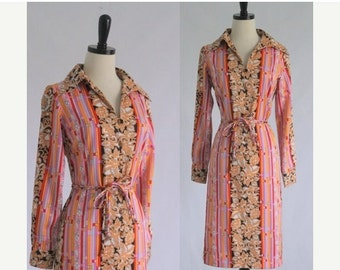 Vintage 1970s Dress 70s Dress 1960s Dress 60s Dress Womens Mod Dress Wild Print Dress Shift Dress 1970s Clothing Size Small Medium