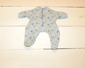 Blue Patterned Footed Sleeper - 12 inch boy doll clothes