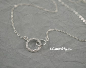 Interlocking circle necklace, Sterling silver, CZ infinity, Gift for girlfriend mom, Best friend necklace, Infinity necklace, Interlock