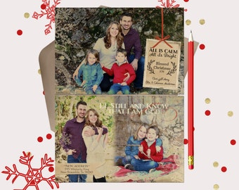 Rustic Christmas Photo Card  - double sided - 3 photos