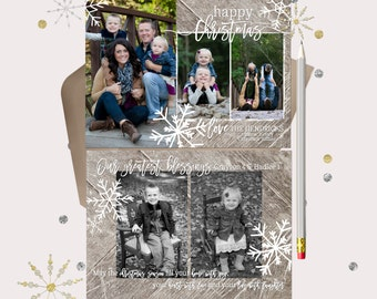 Happy Christmas Cards · 5 photo Holiday cards · Rustic Wood & Snowflakes