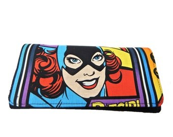 "BI-FOLD  Woman Wallet with  ""BATWOMAN"" Pattern , Cotton  Fabric, New, Rare"