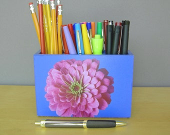 Pencil Cup With Pink Zinnia, Gifts For Her, Dorm Decor, Desk Accessories, Back To School