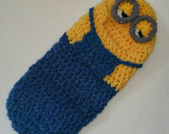 Hooded Cocoon, Minion , Newborn, Halloween Costume, Photography Prop, Baby Gift