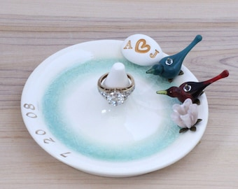 Personalized love birds wedding ring holder, personalized ring holder, ceramic ring dish with initials and date, anniversary gift