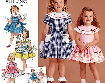 Girls' Vintage 1950's Dress Pattern, Sisters' Dress Pattern,  Simplicity Sewing Pattern 8062