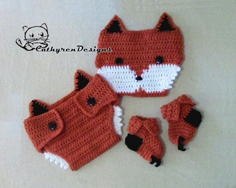 Baby Fox Diaper Cover, Socks/Booties Set, Photo prop - INSTANT DOWNLOAD Crochet Pattern