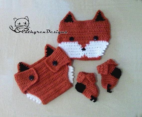 Baby Fox Diaper Cover Socks Booties Set prop INSTANT