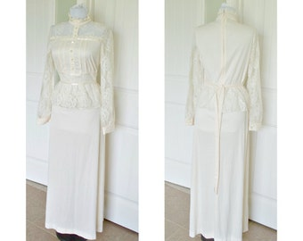 Vintage 70s creamy  white dress with lace peplum - sheer lace sleeves