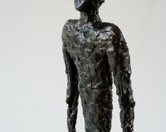 Brutalist Steel sculpture of Man Walking Modernist Giacometti Style