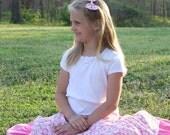 Girls Long Modest Pinka and White Daisy Peasant Skirt