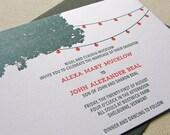 String of lights Wedding Invitation, Letterpress printed SAMPLE
