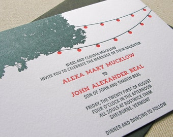 String of lights Wedding Invitation, Letterpress printed SAMPLE