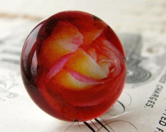 Red orange roses, flower cabochon, floral, yellow, handmade cabochon, glass cabochon, round 22mm cabochon, flat back image
