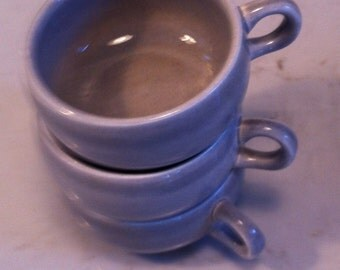 Set of three classic Russel Wright coffee cups in gray