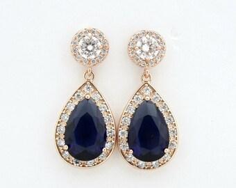 Blue Rose Gold Wedding Earrings, Something Blue, Bridal Jewelry, CZ, Large Teardrop, Bridal Earrings Sapphire Blue Wedding Jewelry