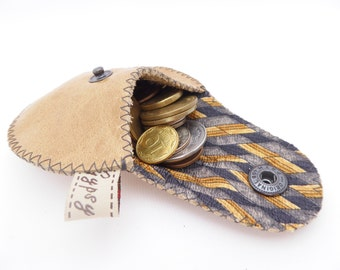 Leather Coin Purse / MIni Gypsy Men / Small Leather Pouch / Argentine Leather and Recycled Necktie