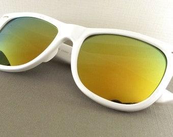 vintage 90s deadstock sunglasses wayfarer white plastic frame sun glasses eyewear fashion unisex simple classic yellow blue revo mirror 64