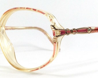 vintage 90's used oval eyeglasses frames plastic oversize gold retro eye glasses eyewear optical translucent fuschia pink marble ribbon 100