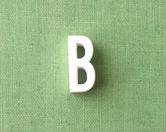 vintage 1930's white ceramic capital letter B small tiny little old antique porcelain decorative home decor retro personalized name initial