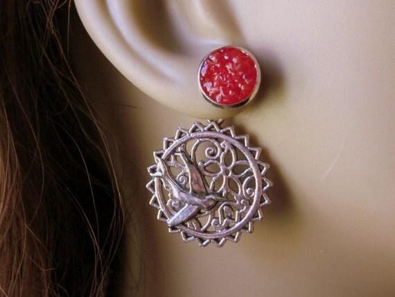 Reverse Sparrow Earrings, Cherry Red Druzy Studs, Front Back Earrings, Flower Ear Jackets, Custom Color Glass,  Double Sided Bird Earrings