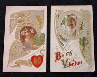 Victorian Valentine Postcards, Art Deco