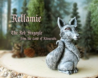 Rellamie the Red Foxgoyle - Miniature Fantasy Gargoyle Fox Figurine -Faceted Crystal Eyes - Handmade and Hand-Painted Polymer Clay Sculpture