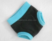 Small Anti-Pill Fleece Soaker Fitted Diaper Cover Nappy Cover Trainer Underpant Pullup in Grey Blue Teal, In Stock and Ready to Ship