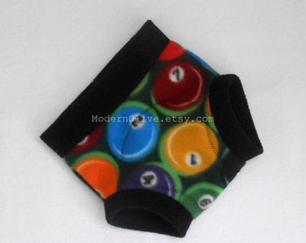 Large Fleece Cloth Soaker Diaper/Underpants Cover in Billiards Ready to Ship, Green Black Red Orange Blue Yellow Vegan