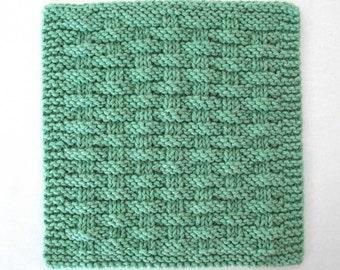 Knitted Dishcloth, Hand Knit Dishcloth, Cotton Washcloth, Basketweave Kitchen Washcloth
