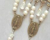 Vintage Assemblage Religious Medal Virgin Mary Catholic Relic Dangle Earrings