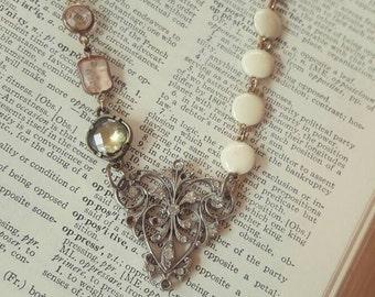 Frances Antique Chandelier Glass Jewel Filigree Beaded Necklace Repurposed Jewelry
