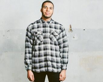Men's WRANGLER Flannel Shirt . Vintage 90s Monochrome Button Up Jacket Shirt 1990s Grunge Long Sleeve . Small Medium Large