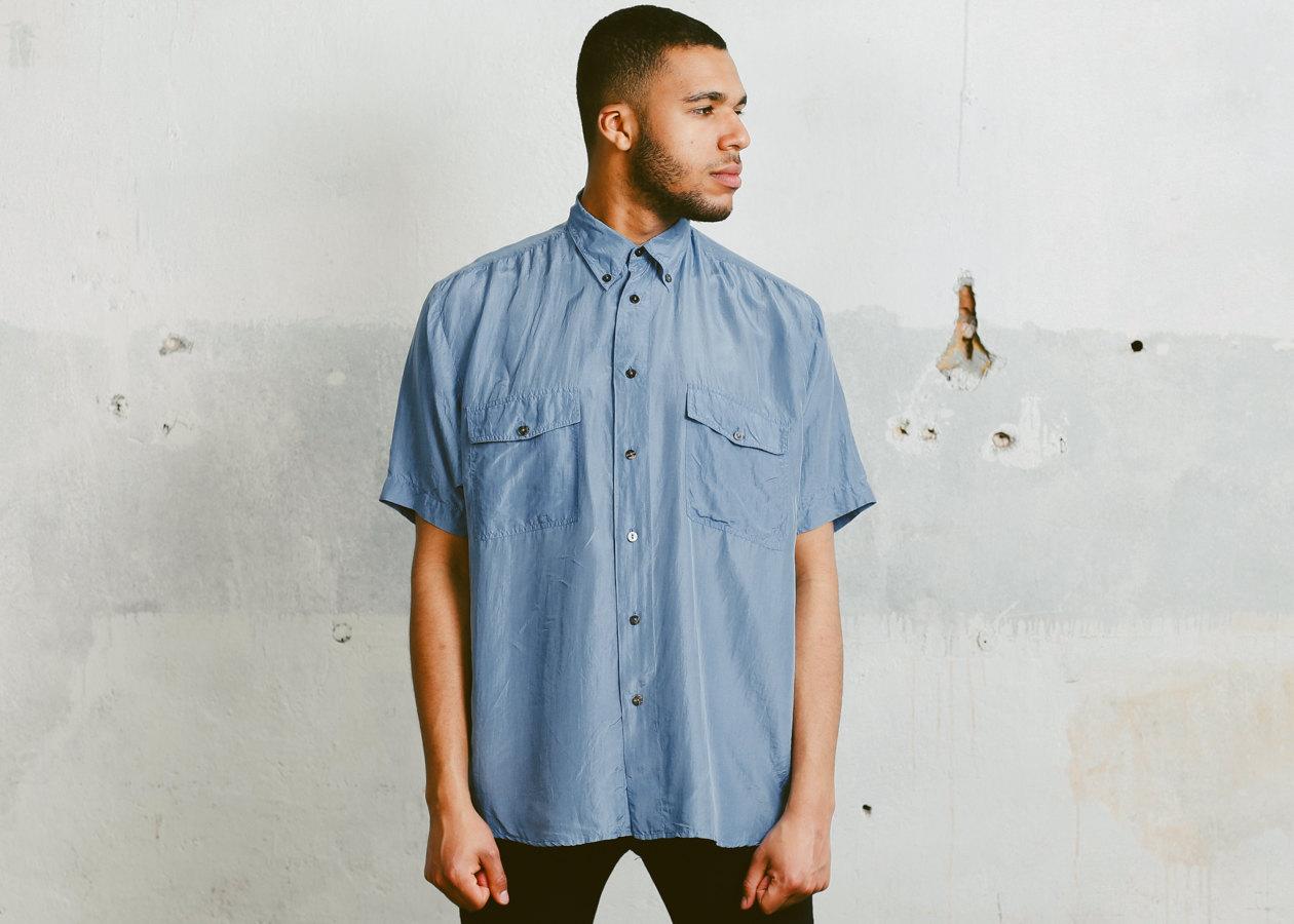 des hommes lav s chemise en soie chemise bleue des ann es 90. Black Bedroom Furniture Sets. Home Design Ideas