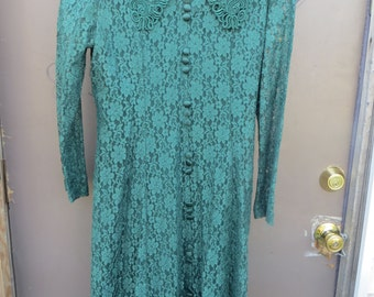 Vintage 80's FOREST   green  EMBROIDERY Lace Dress by Dawn Joy Fashions sz 14
