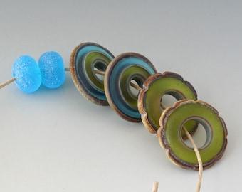 Rustic Ruffle Discs - (4) Handmade Lampwork Beads - Green, Turquoise