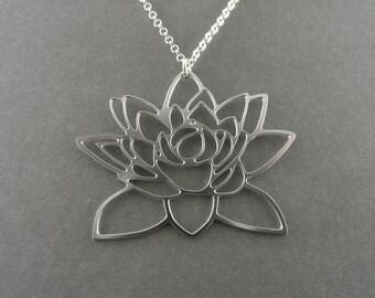silver Lotus flower necklace, lotus pendant, lotus jewelry, lotus necklace