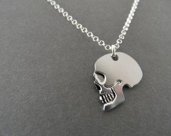 skull charm, little silver skull, skull, skull necklace, memento mori, silver skull jewelry, skull jewelry, gift under 50
