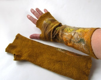 Felted mittens, Felt fingerless gloves, Mustard warm Mittens, Yellow fall mustard  mitts, Wool gloves, felt by Galafilc
